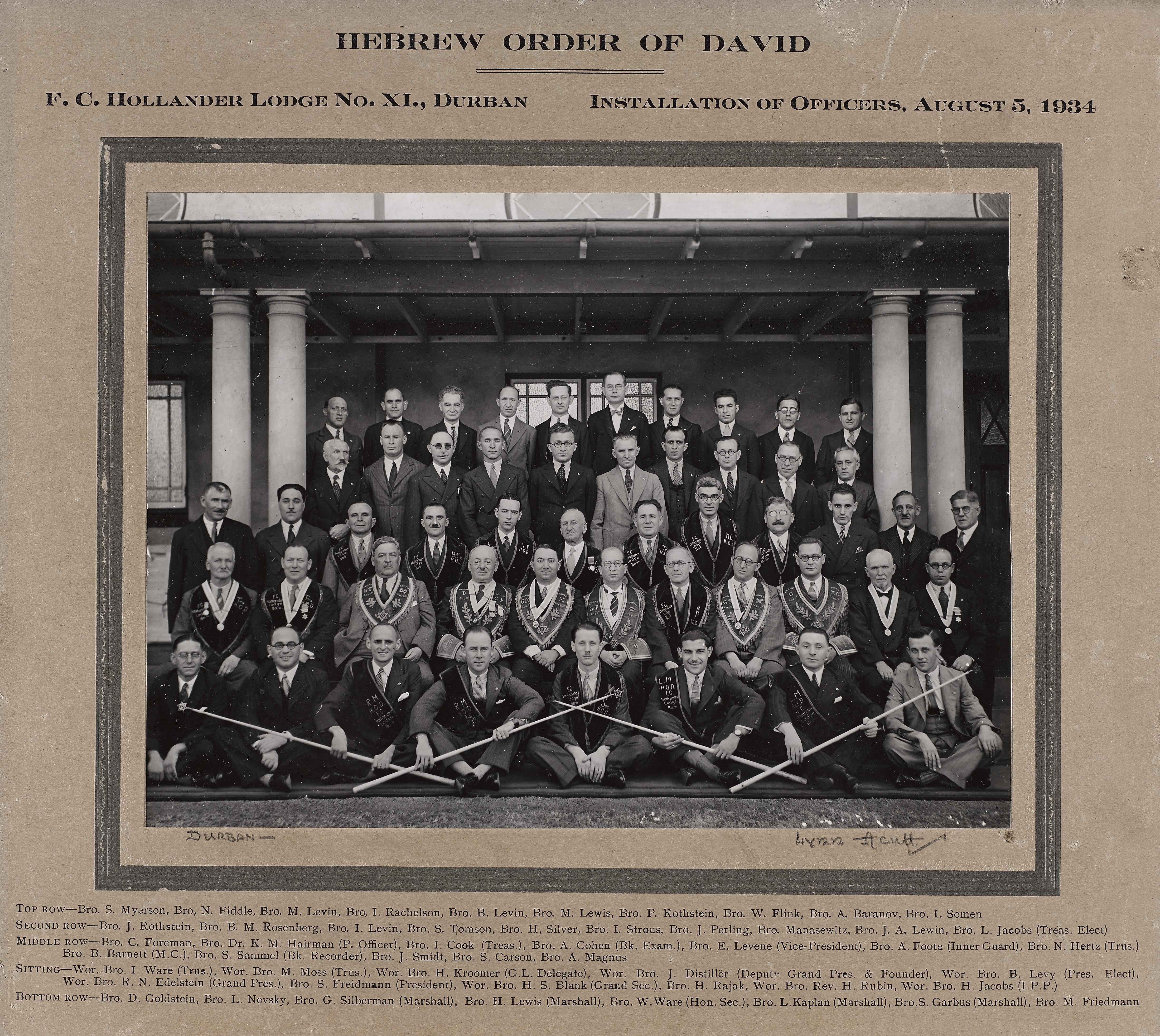 F C Hollander Lodge 5 August 1934