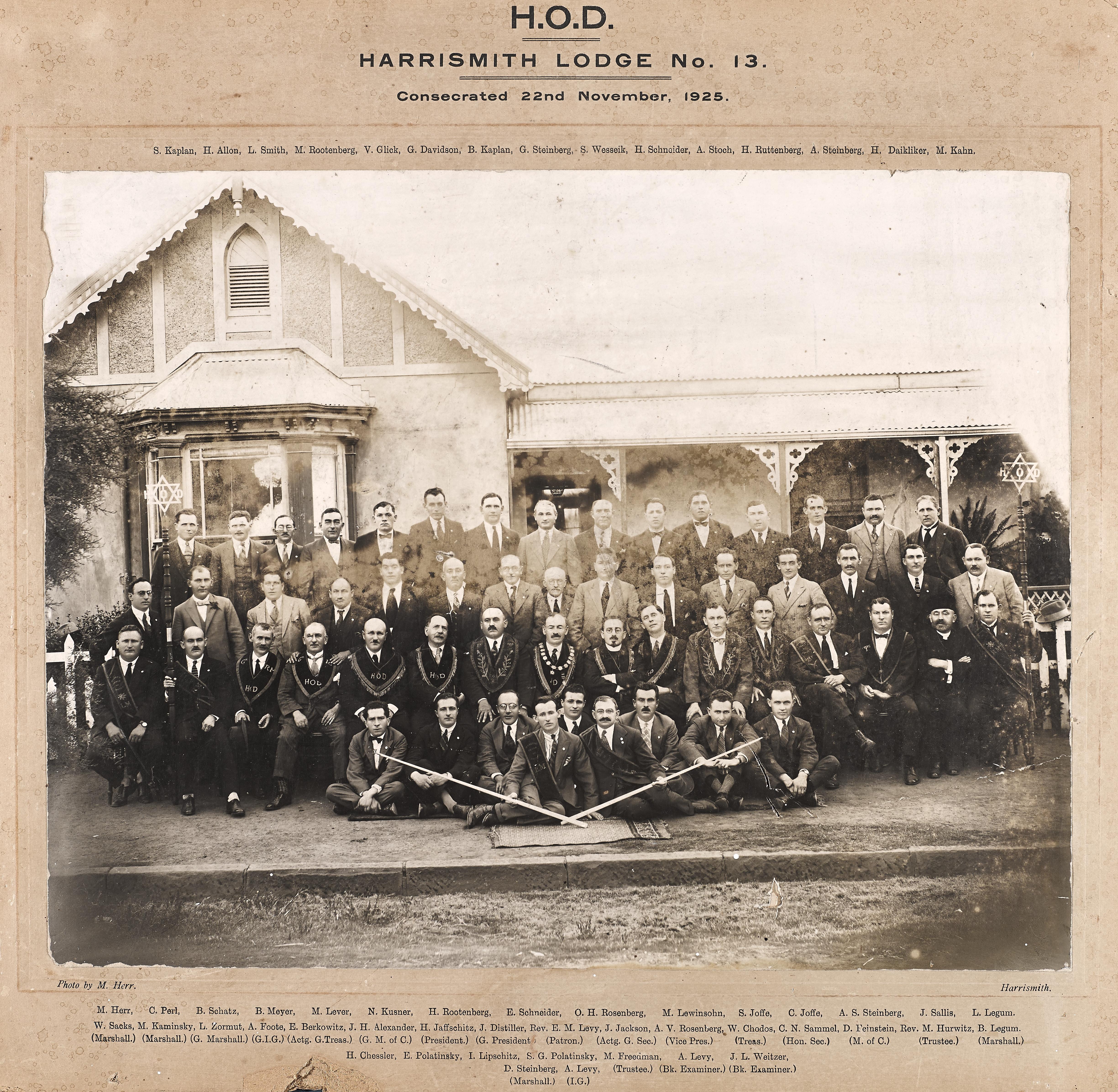 Harrismith Lodge Consecration 1925