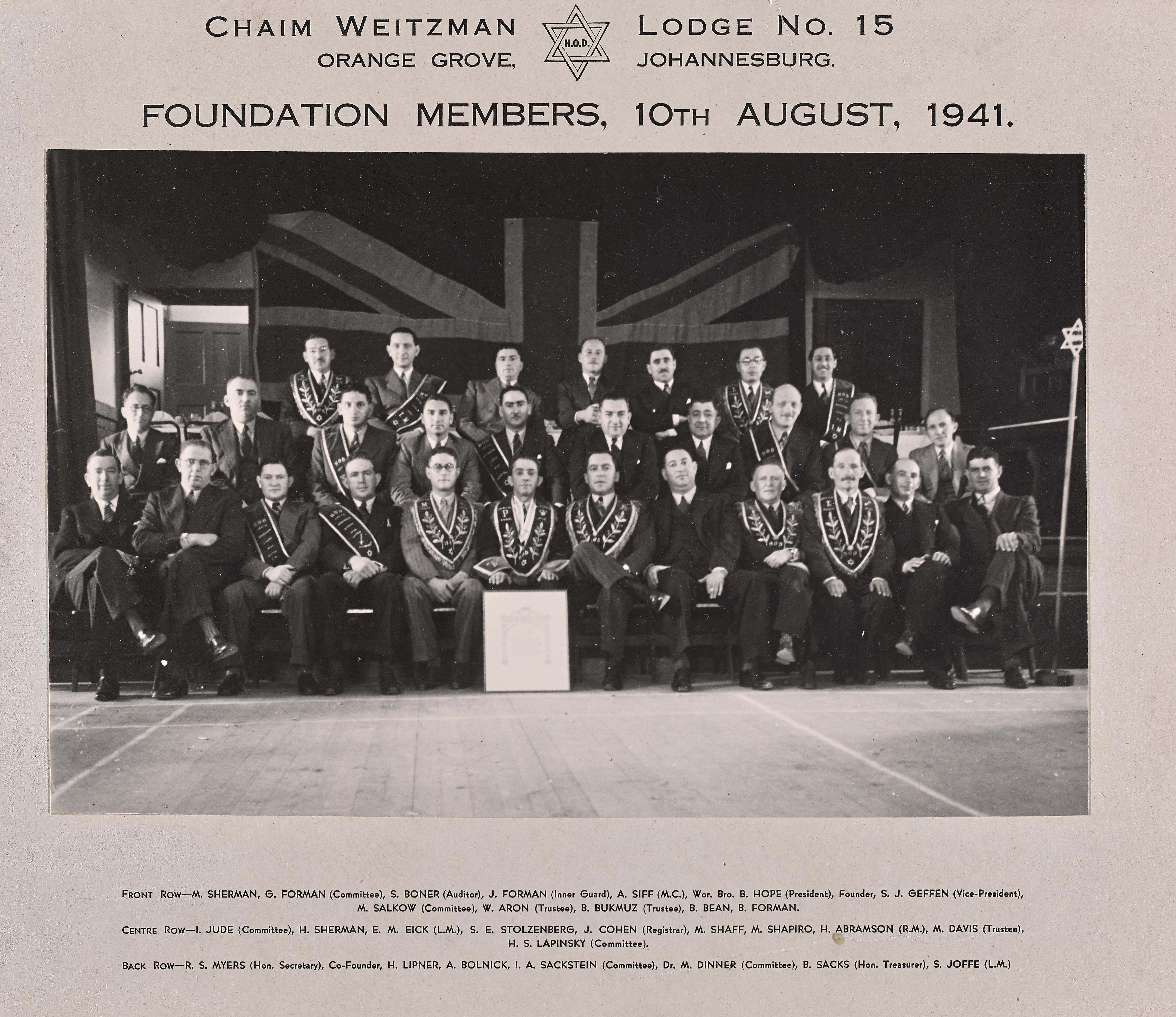 Chaim Weizmann Lodge 1941